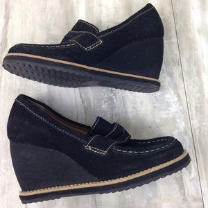 Dr. Scholl's Black Loafer Wedges 5.5